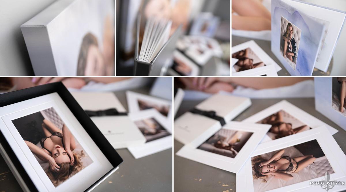 boudoir products showing canvas wall portrait image box portrait album and folio